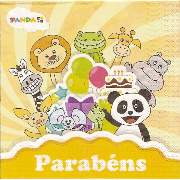 Guardanapo Parabens Panda Kitty S Gifts Artes Decorativas